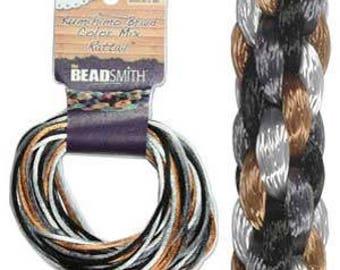 Kumihimo Rattail Color Mix Pebblestone, 4 Braids x 3 Yards each, 2mm Diameter