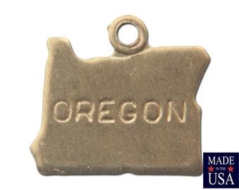 Raw Brass Tiny Oregon State Charm Drops (6) chr201R