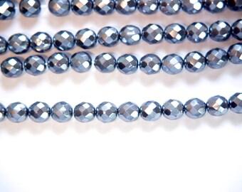 Czech Opaque Pearl Dark Gray Faceted Glass Beads 8mm (20) czh022A