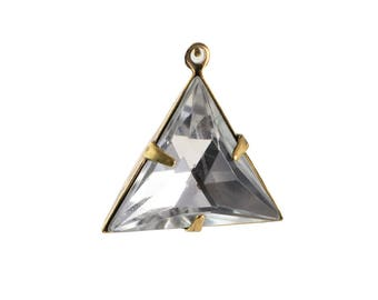 Crystal Clear Faceted Acrylic Triangle in 1 Loop Brass Ox Setting Pendant Drop 20mm (4) tri002L