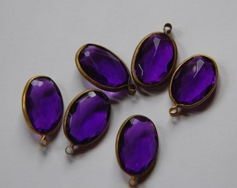 Brass Channel Set Faceted Oval Purple Acrylic Drops Charms (6) chr161