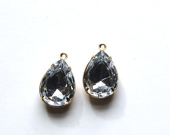 Crystal Clear Faceted Glass Teardrop Stones in 1 Loop Brass Setting 18mm x 13mm par004P