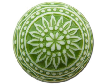 Vintage Etched Mosaic Green and White Cabochons 18mm (2) cab710G