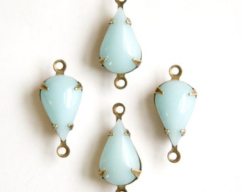 Vintage Calcedon Blue Glass Teardrop Stone 2 Loop Brass Ox Setting par016AL2