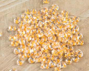 "Crystal - Peach Lined SuperDuo Beads 2/5mm 2.5"" Tube 364-25-44887/C"