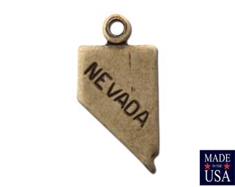 Brass Ox Tiny Nevada State Charm Drops 14x7mm (2) chr204QQ