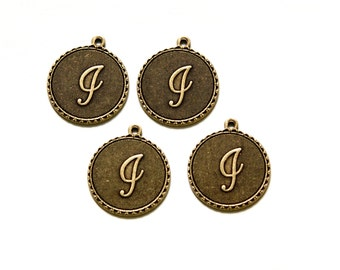 """Brass Ox Letter """"i"""" Initial Charm Drop with Loop (4) chr194i"""