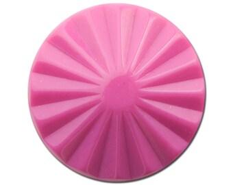 Vintage Dark Pink Ribbed Acrylic Cabochons 30mm (2) cab830G