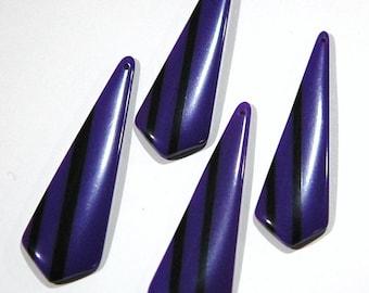 Vintage Purple with Black Stripe Retro Pointed Acrylic Pendants pnd150