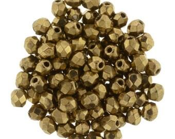 Czech Faceted Bronze Fire Polish Glass Beads 3mm (50)