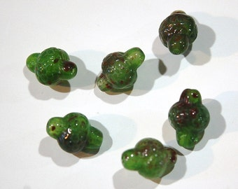 Vintage Acrylic Lantern Beads Green with Brown Etched Flower bds444A