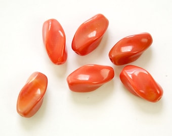 Vintage 2 Tone Coral German Glass Oblong Twist Beads grm040C