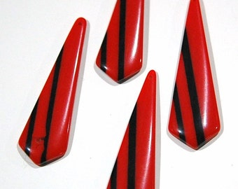 Vintage Red with Black Stripe Retro Pointed Acrylic Pendants pnd150D