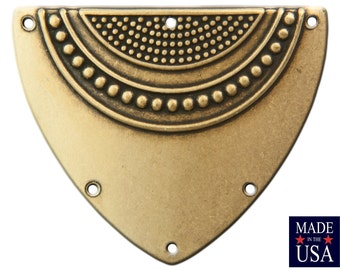 6 Hole Brass Ox Dapped Triangle Shield Tribal Pendant Connector (4) mtl180C