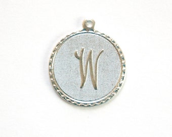 Matte Silver Plated Letter W Initial Charm Drop with Loop (1) chr197W
