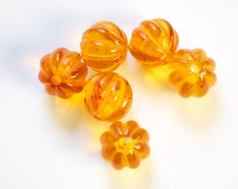 Vintage Topaz with Speckles Melon Acrylic Beads 12mm (6) bds462B