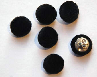 Vintage Black Soft Velour Fabric Buttons 13mm Metal Shank btn004F
