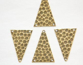 3 Hole Brass Ox Hammered Triangle Pendant Findings (6) mtl512C