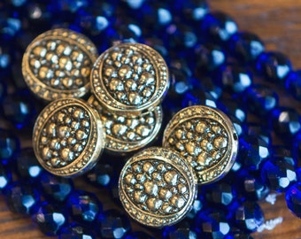 Vintage Antiqued Gold Acrylic Bumpy Top Coin Beads bds235A