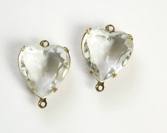 Clear Faceted Glass Heart Connector 2 Loop Brass Ox Setting 15mm hrt006G2