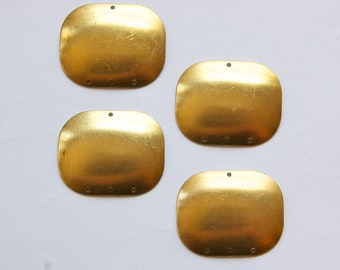 4 Hole Raw Brass Dapped Rectangle Connector Pendant (4) mtl174B