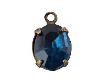 Vintage Montana Blue Glass Oval Stones in 1 Loop Brass Ox Setting 10mmx8mm ovl017TT