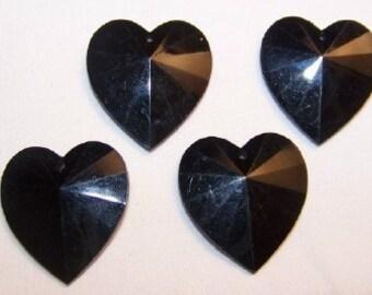Vintage Black Faceted Heart Pendants Charms pnd017