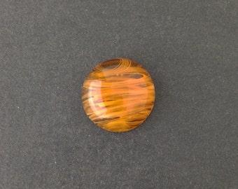 Vintage Honey Topaz Swirled Glass Cabochons Japan 18mm (2) cab099