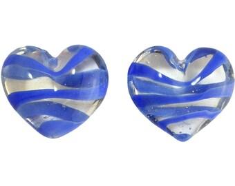 Transparent Medium Blue Striped Glass Hearts  25x22mm (2) gyb012G