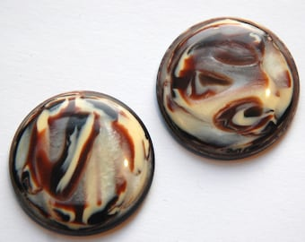 Vintage Brown and Cream Swirled Acrylic Cabochons 30mm cab759