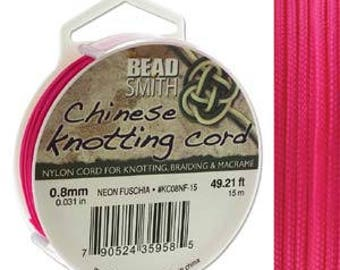 Neon Fuschia Chinese Knotting Cord (.8mm/.031in) 15m/16.4yds