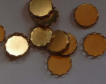 Raw Brass Lace Edge Fillgree Setting 13mm Round (8) stn001A