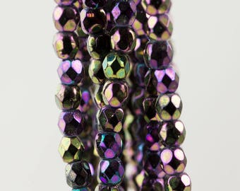 Firepolish Czech Faceted Iris Purple Glass Beads 3mm (50)