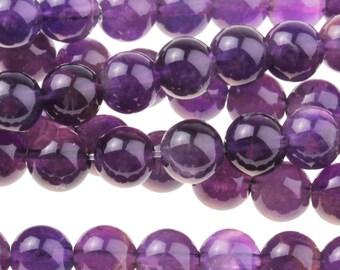 """Dakota Stones Amethyst 6mm Round Gemstones. 8"""" Strand. AME6RD-8"""