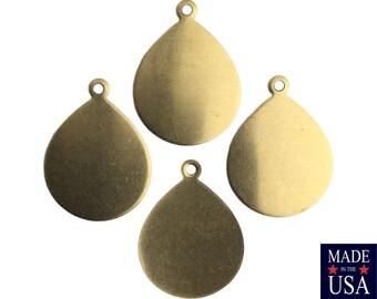 1 Loop Dapped Raw Brass Teardrop Pendant Findings 22x17mm (8) mtl446A