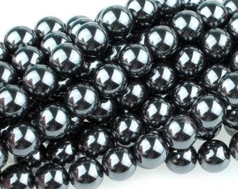 "Dakota Stones Hematite 8mm Round Gemstones. 8"" Strand. HEM8RD-8"
