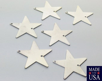 2 Hole Silver Plated Flat Star Connector Pendant (6) mtl161C