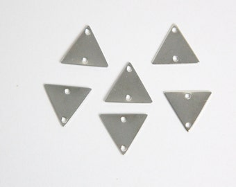 2 Hole Silver Plated Triangle Connector Link Charms Drops 13mm (10) mtl147F