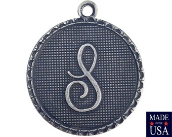 Sterling Silver Ox Plated Letter S Initial Charm Drop with Loop (1) chr214S