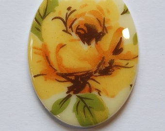 Vintage Large German Yellow Rose Cabochon 40x30mm cab746A