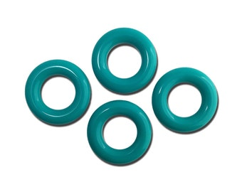 Vintage Teal Blue Acrylic Hoops Rings 30mm (4) hps059D