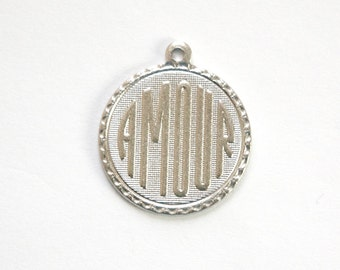 Matte Silver Plated Amour Love Word Charm Drop with Loop (1) chr197DD
