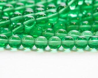Czech Light Emerald Green Druk Glass Beads 6mm (60) czh012
