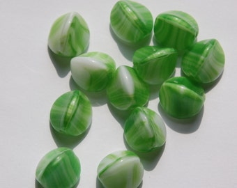 Vintage German Green and White Pinched Glass Beads grm047