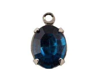 Vintage Montana Blue Glass Oval Stones in 1 Loop Silver Setting 10mmx8mm ovl006TT