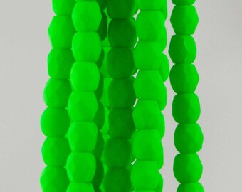 Firepolish Czech Faceted Neon Green Glass Beads 3mm (50)