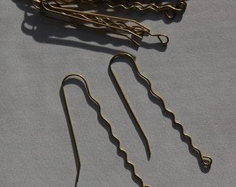 Raw Brass Wavy Very Long Ear Wires 60mm (12) fnd013C