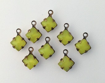 Yellow Moonglow Square Glass Stones 1 Loop Brass Ox Setting 6mm (8) squ014LL