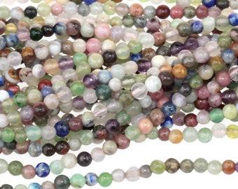 "Dakota Stones Mixed Stone 2mm Round Gemstones. 16"" Strand. MIX2RD"