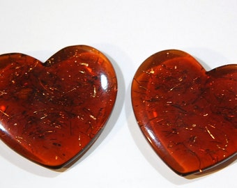 Vintage Brown Acrylic Heart Findings with Confetti cab327